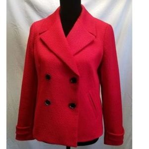 Women Size 6 Talbots Red Pea Coat Blazer Stylish